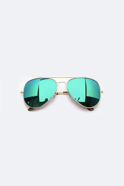 Trendsetter Mirror Tinted Aviator Gold/Green Sunglasses