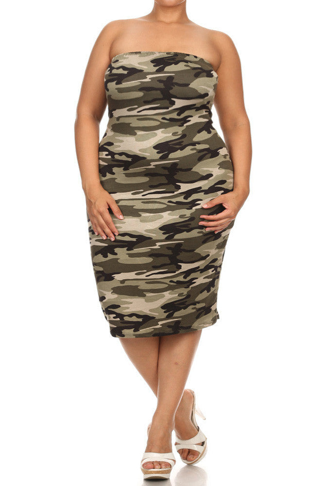 86870befcca Plus Size Camo Print Sexy Tube Midi Dress – Plussizefix