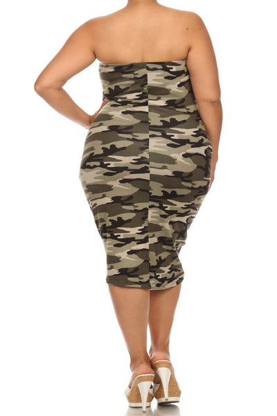 Plus Size Camo Print Sexy Tube Midi Dress Plussizefix