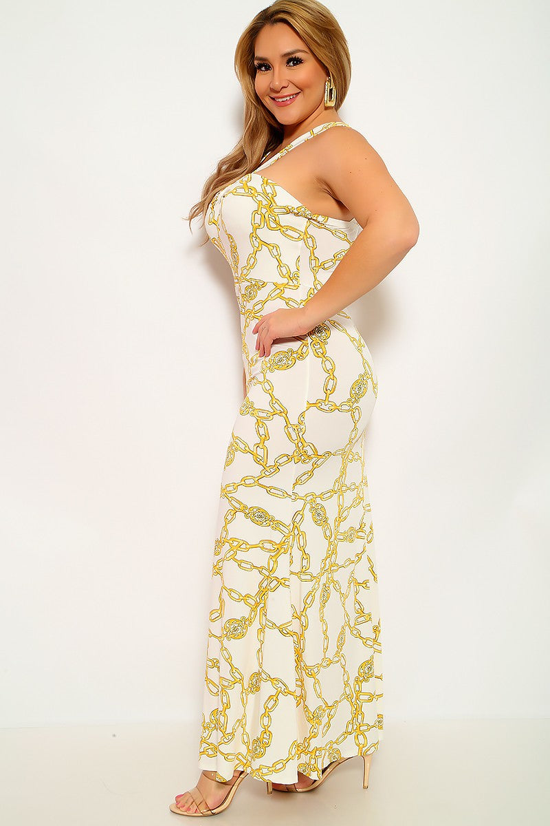 White Yellow Maxi Plus Size Party Dress
