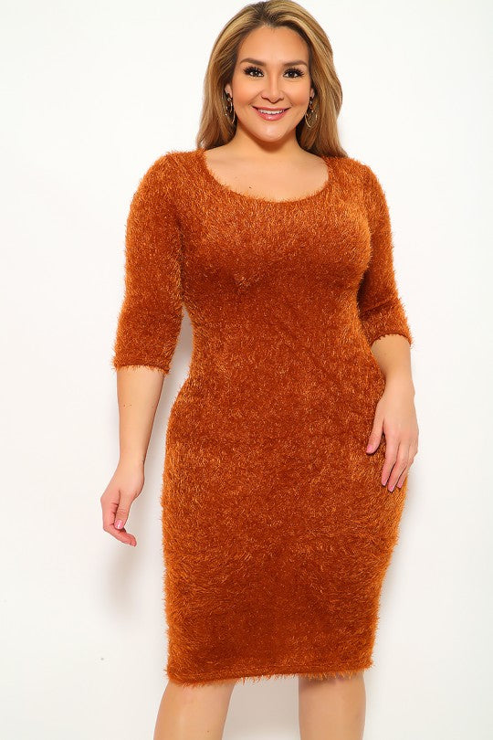 Camel Mohair Knitted Plus Size Party Dress