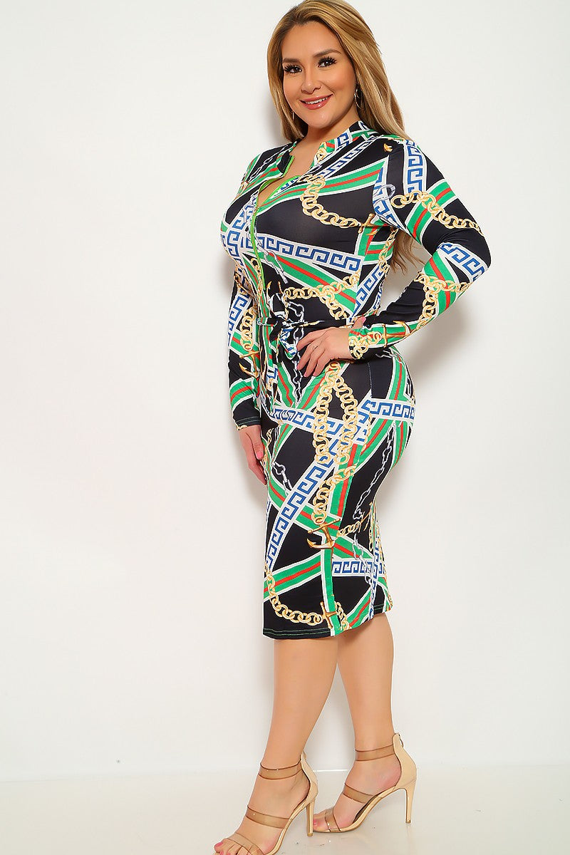 Black Green Graphic Print Plus Size Party Dress
