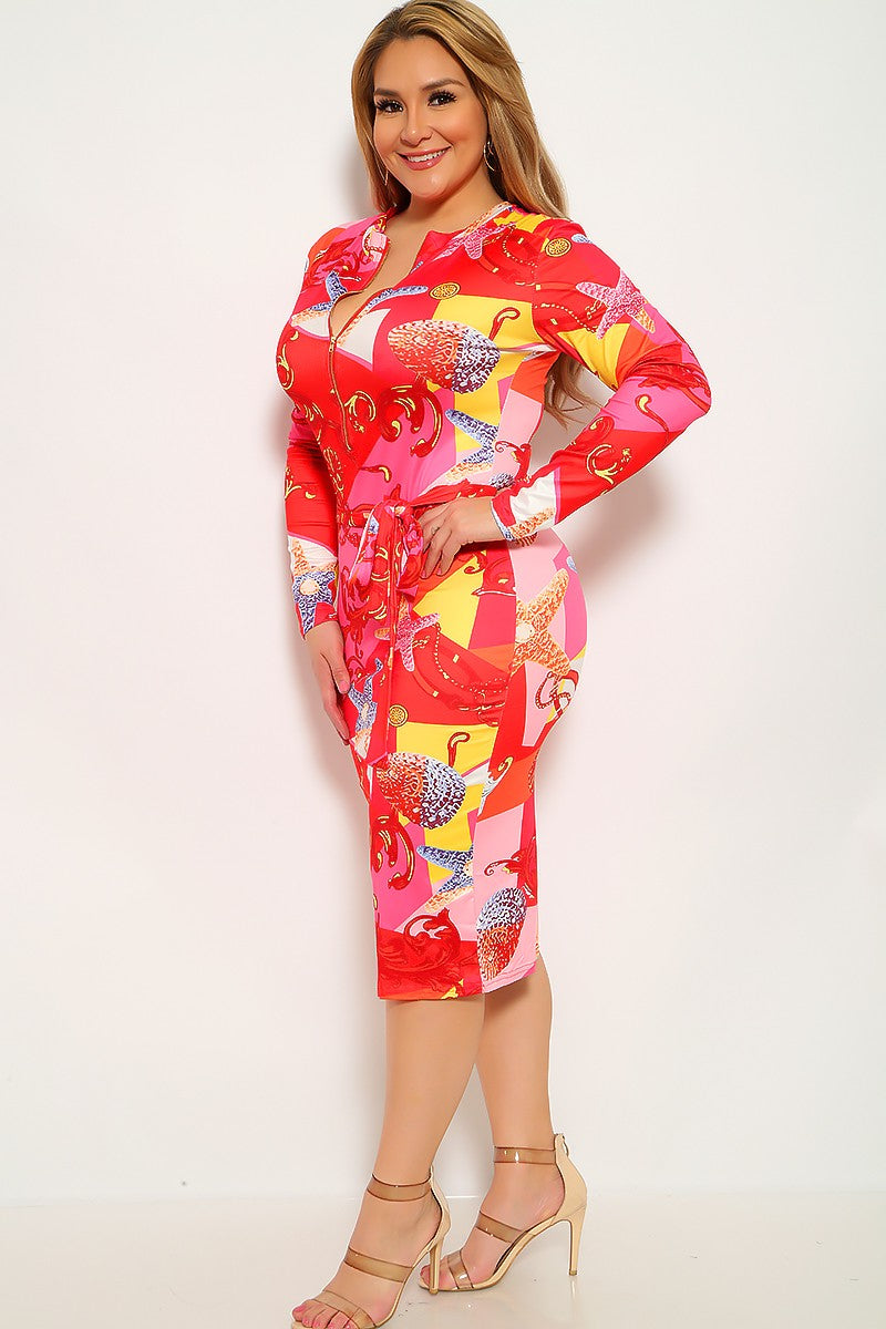 Red Pink Graphic Print Plus Size Party Dress