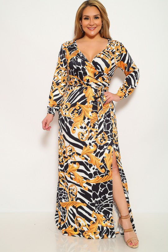 Leopard Graphic Print Plus Size Party Dress