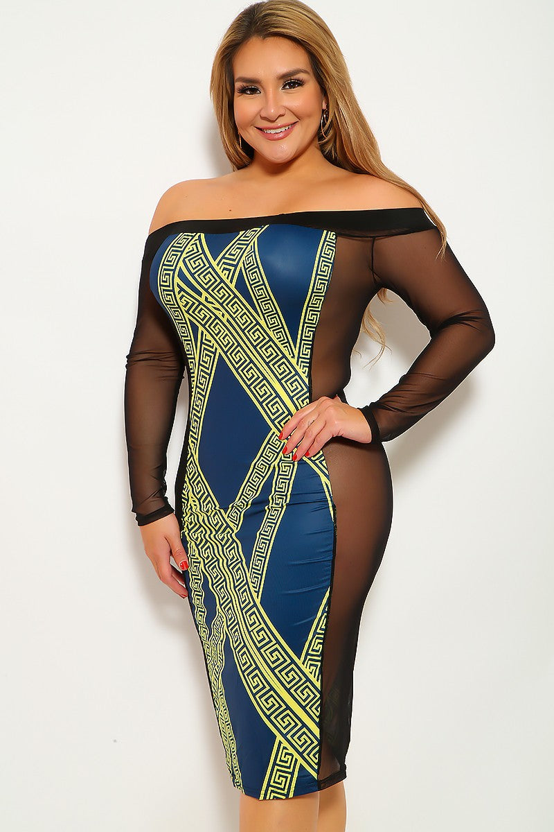 Navy Lime Mesh Plus Size Party Dress