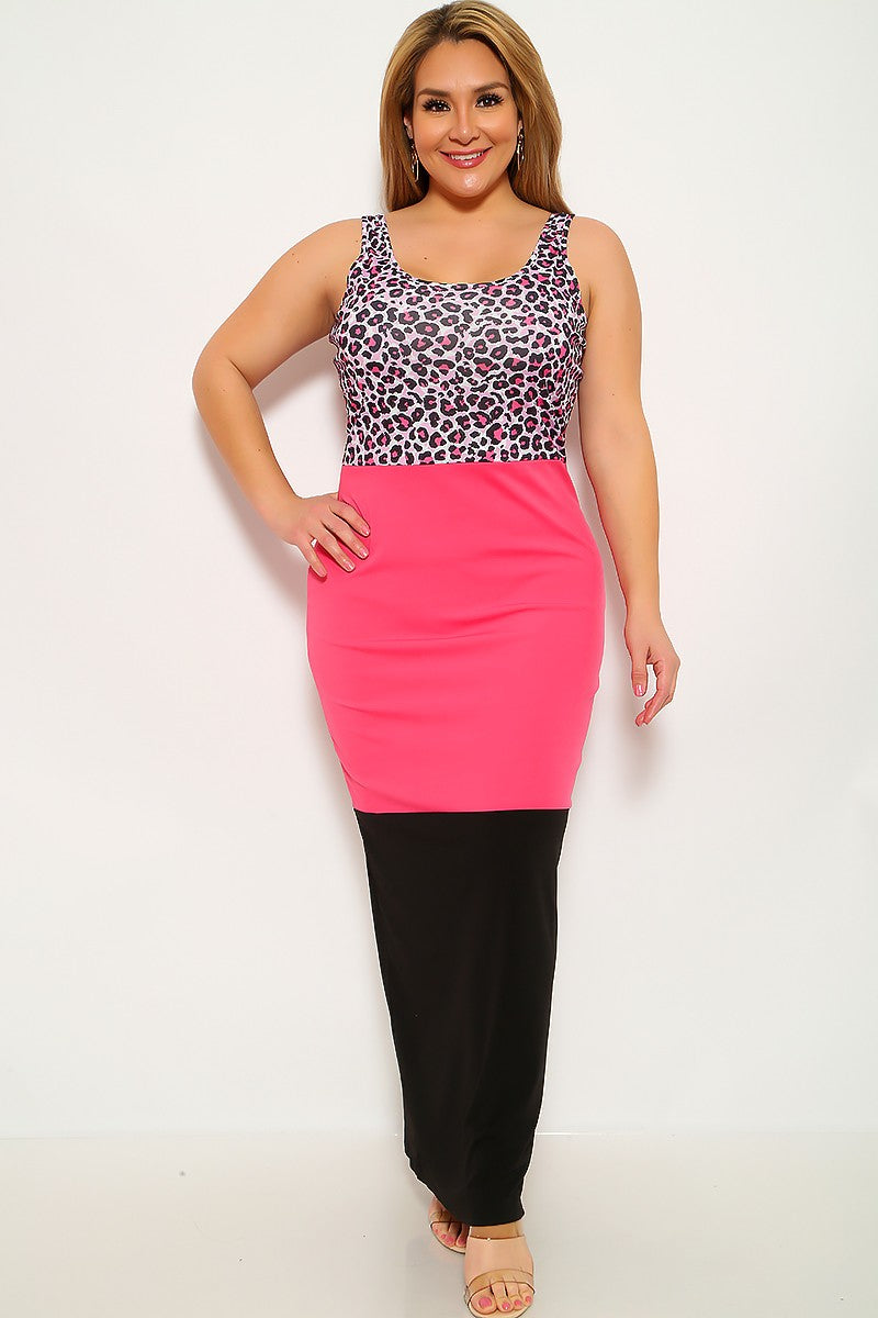 Leopard Fuchsia Sleeveless Plus Size Maxi Dress