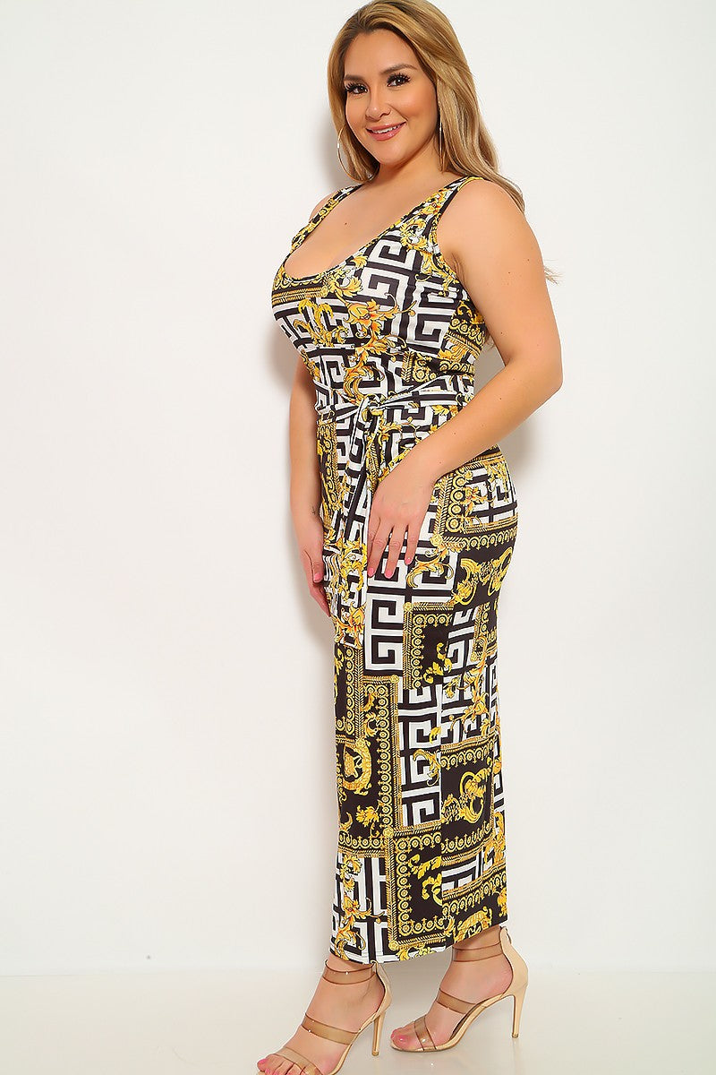 Black White Gold Graphic Print Plus Size Dress