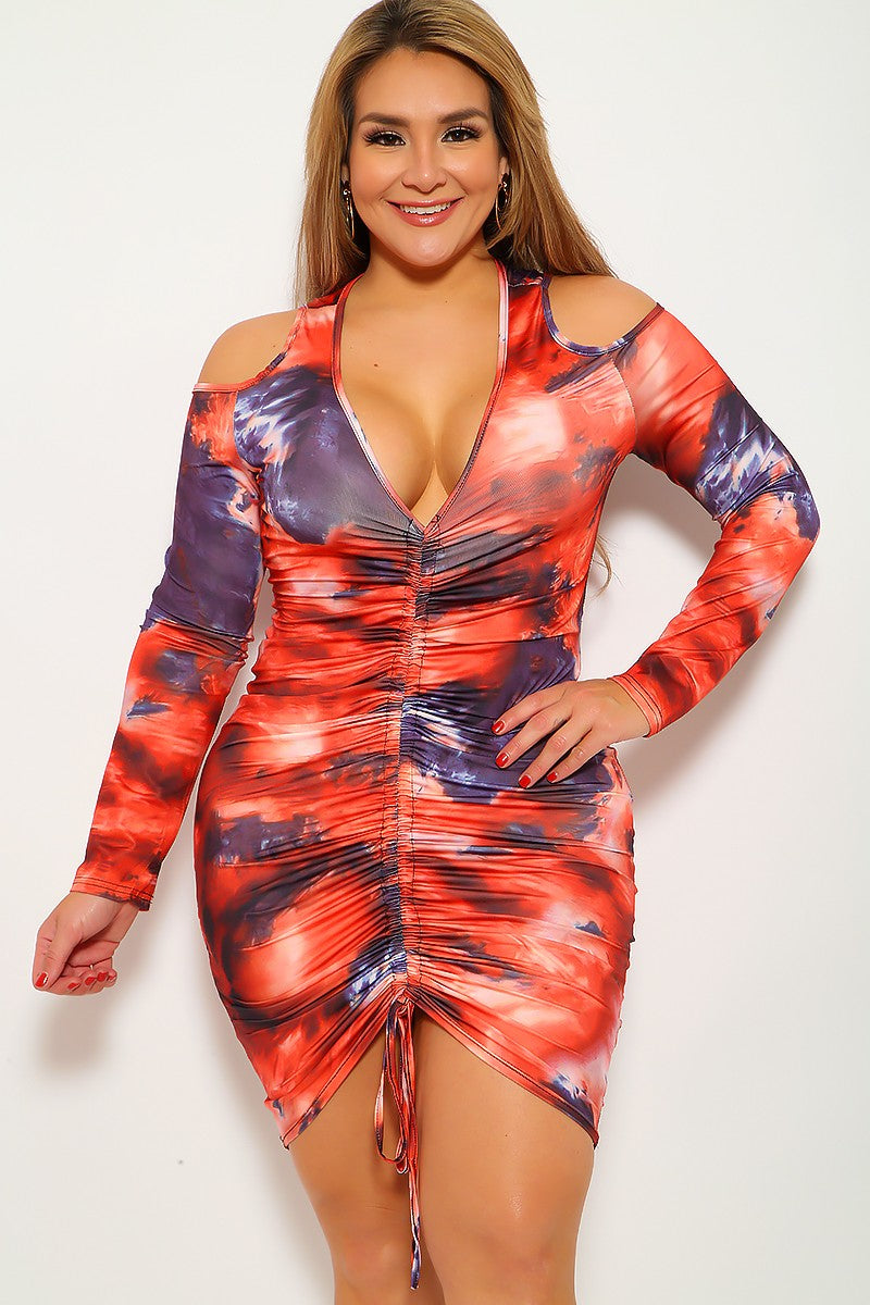 Orange Black Tie Dye Print Plus Size Party Dress