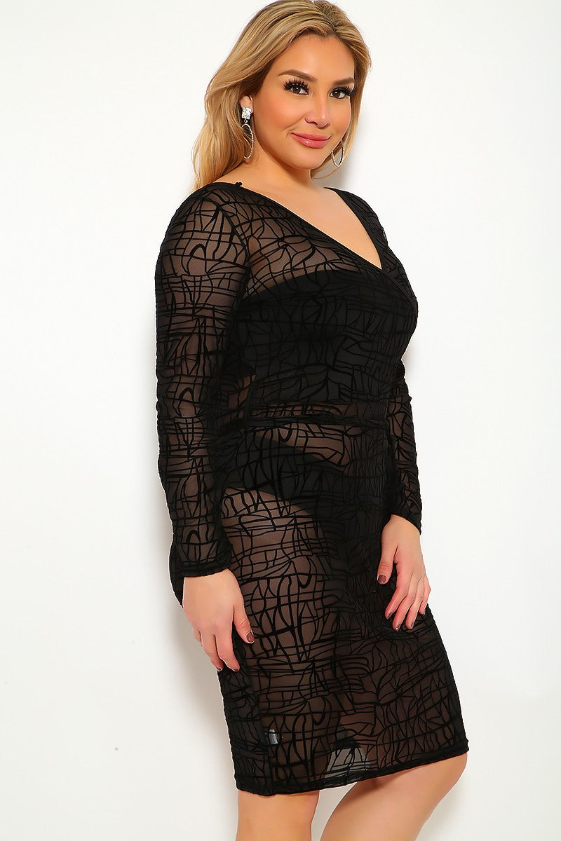 Mesh Black Embroidered Long Sleeve Plus Size Party Dress