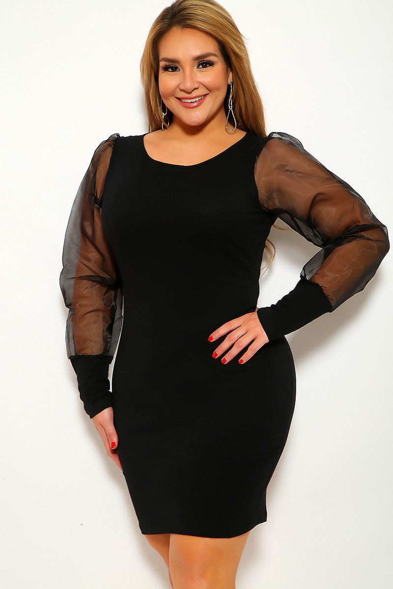 Black Long Sleeve Mesh Plus Size Party Dress