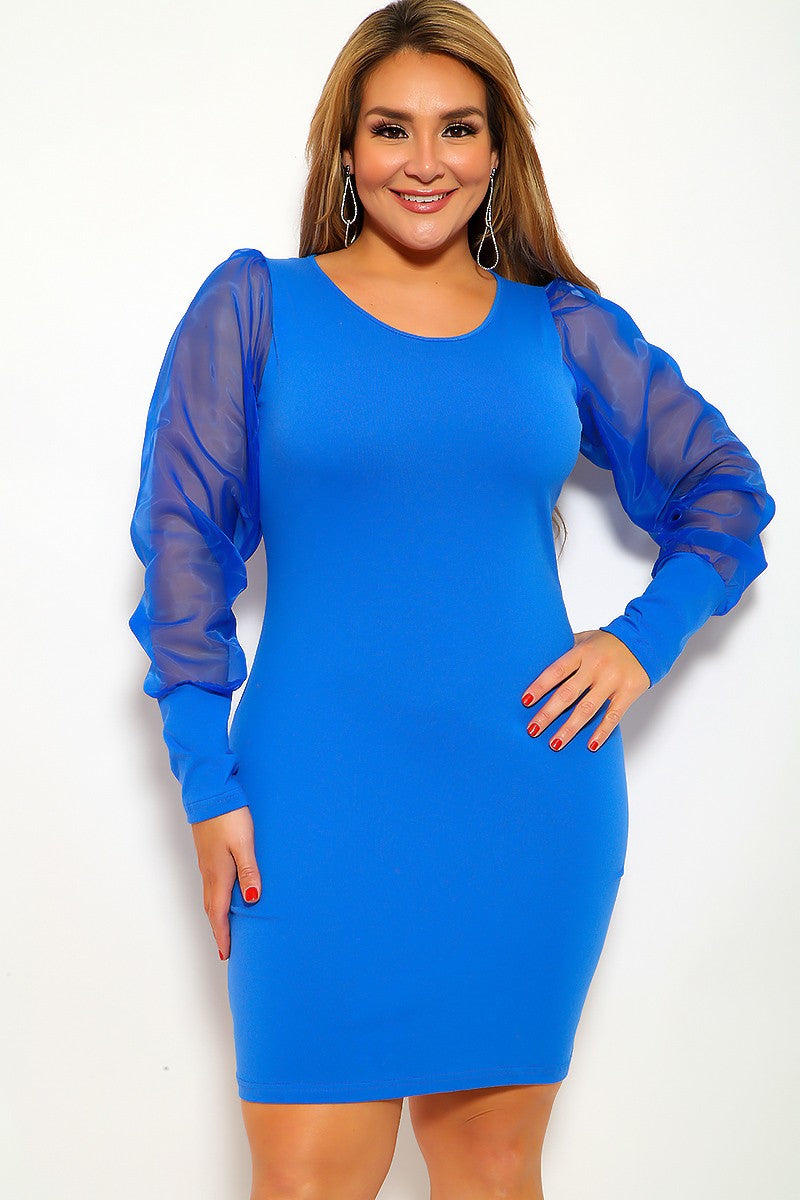 Royal Blue Long Sleeve Mesh Plus Size Party Dress