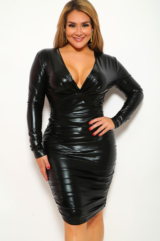 Black Metallic V-Cut Plus Size Party Dress