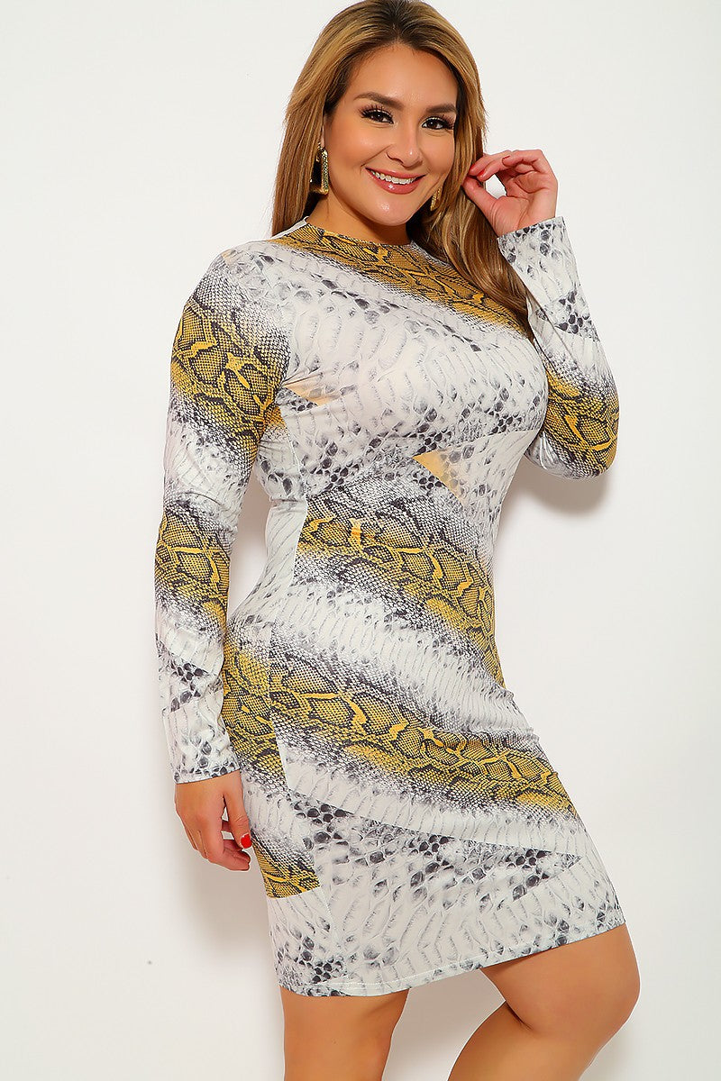 Grey Snake Print Plus Size Party Dress