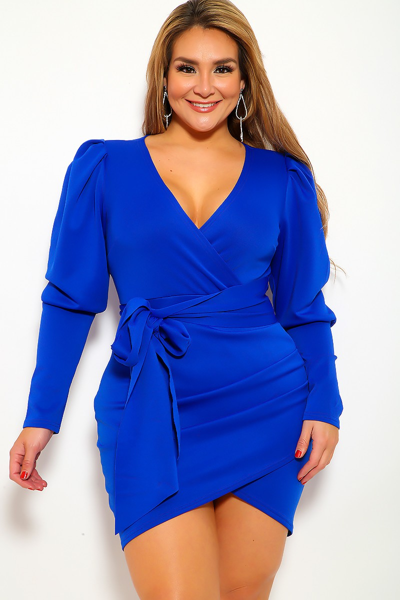 Royal Blue Long Sleeves Plus Size Party Dress