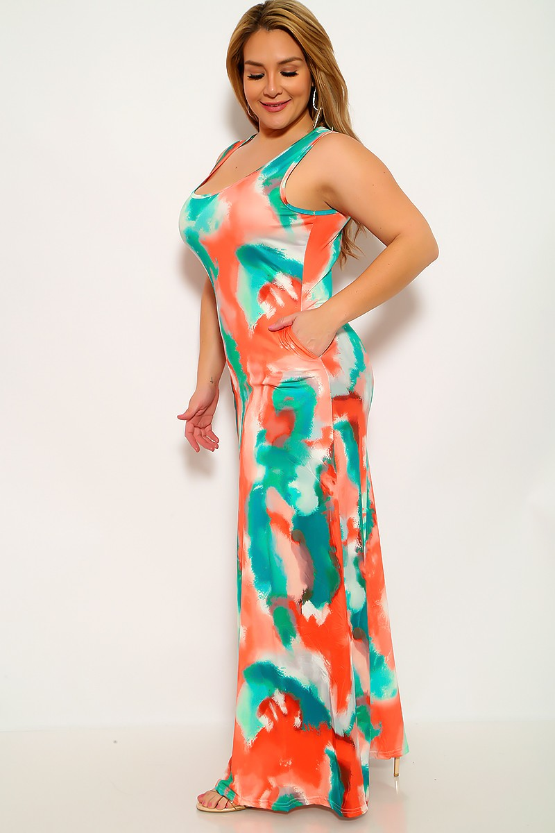 Orange Green Printed Plus Size Maxi Dress