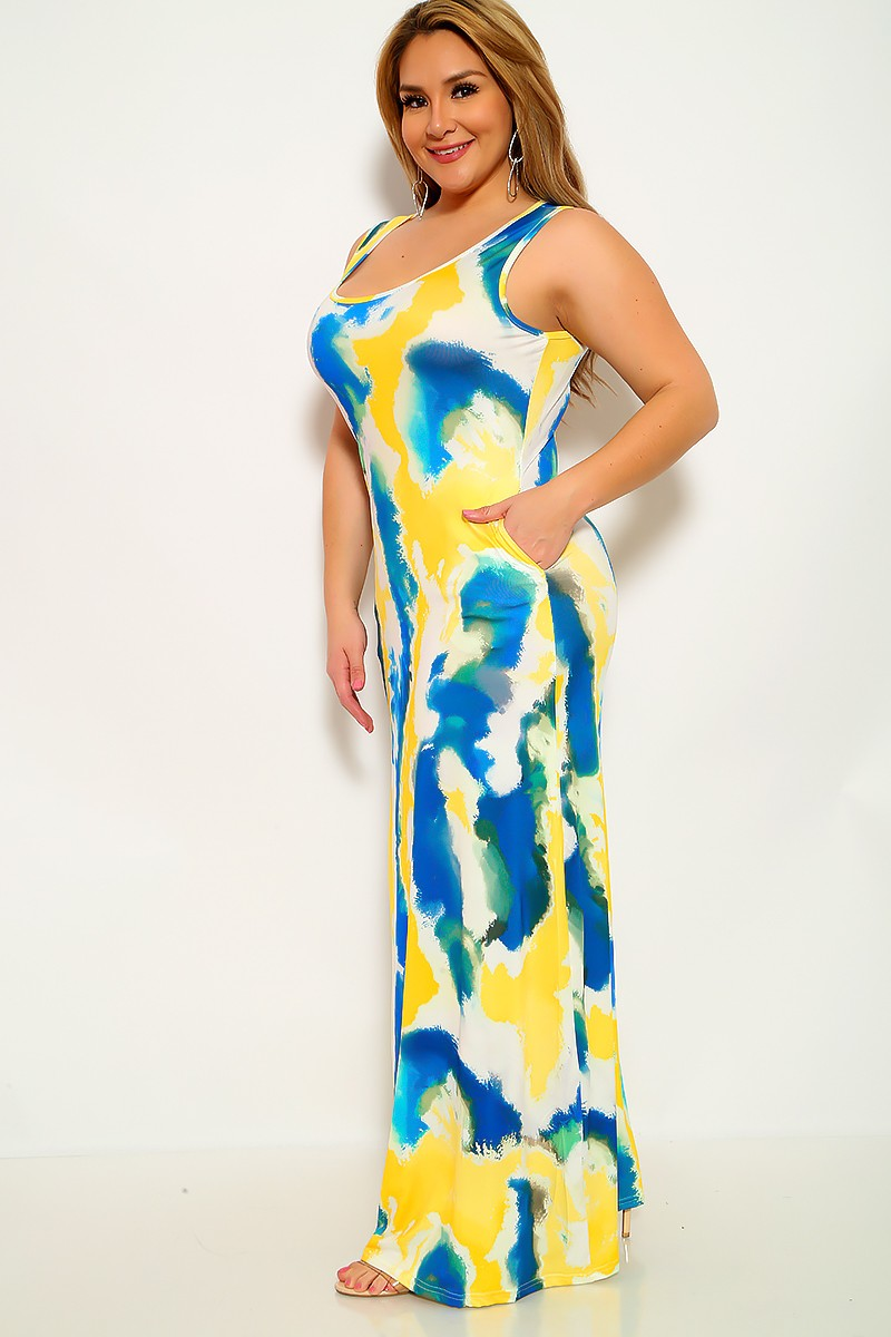 Yellow Teal Printed Sleeveless Plus Size Maxi Dress