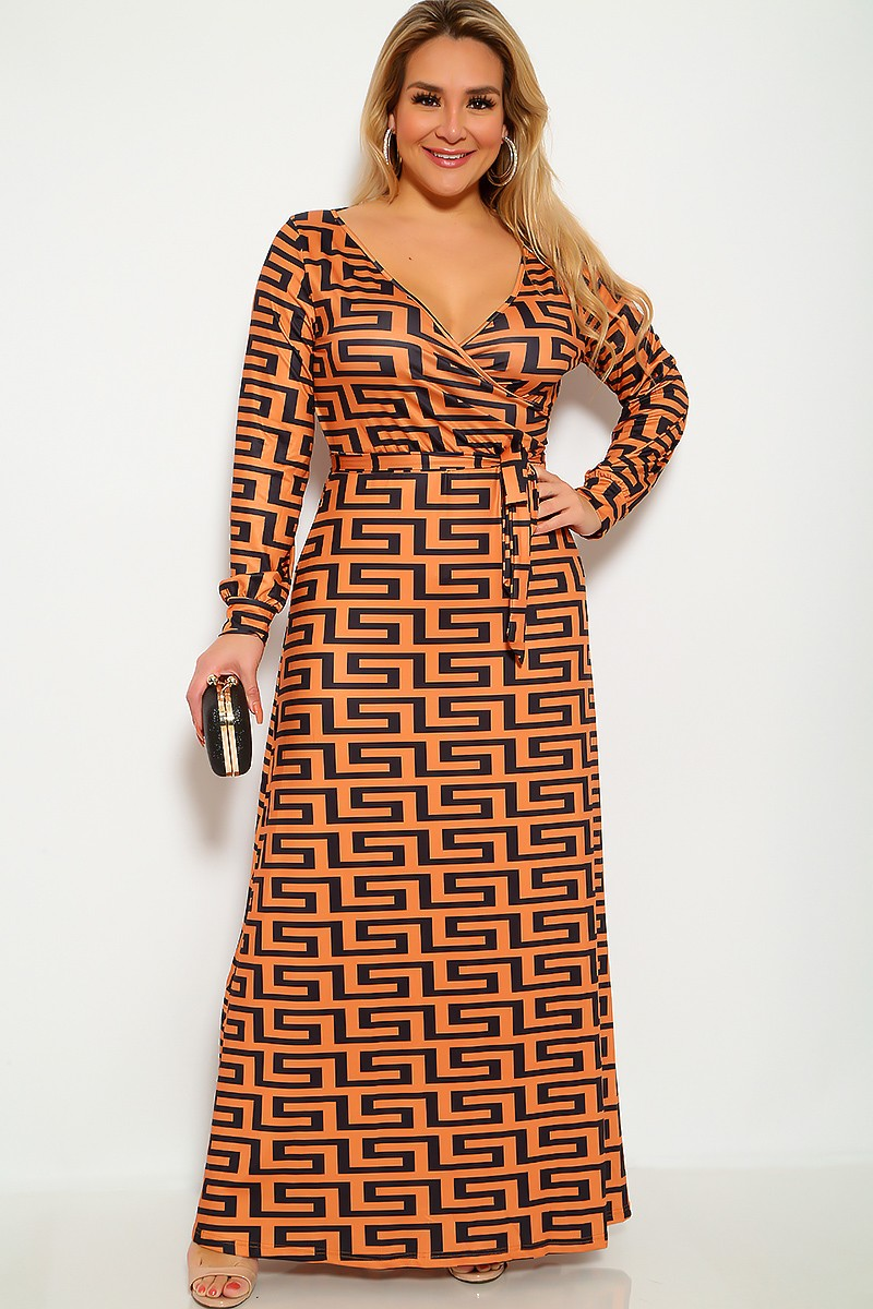 Plus Size Geometric Print Camel Black Maxi Dress