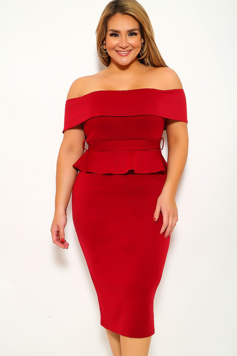 Wine Off The Shoulder Plus Size Party Dress