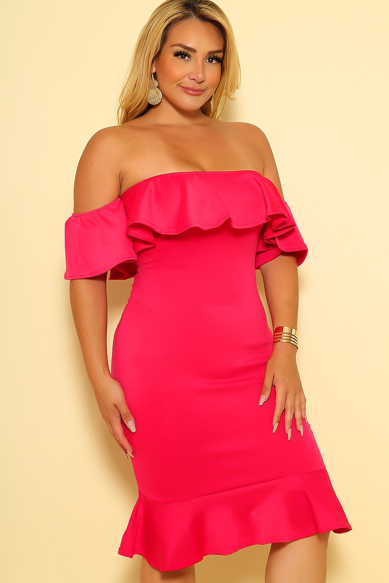 Sexy Fuchsia Ruffle Off The Shoulder Plus Size Party Dress