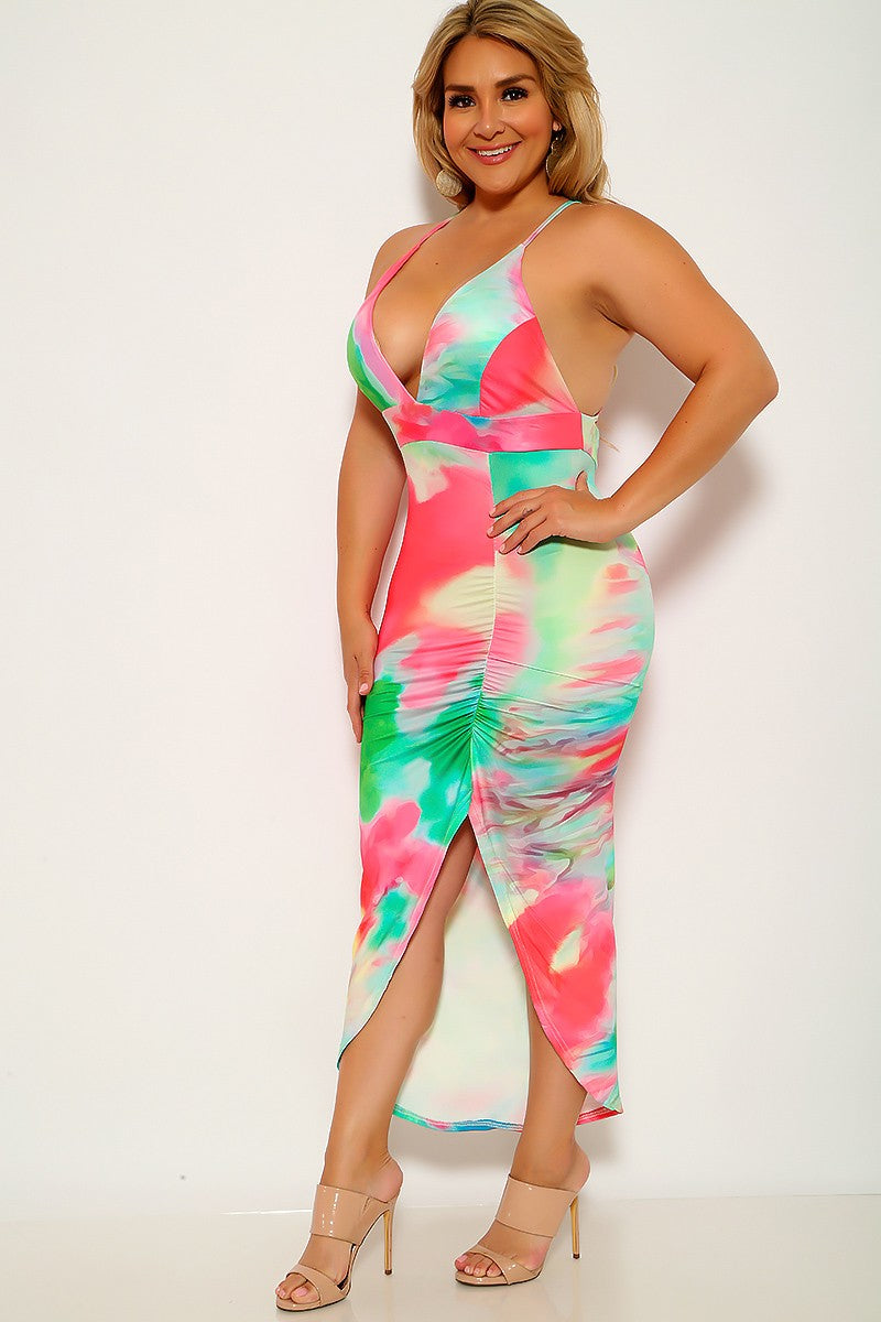 Fuchsia Green Watercolor V-Cut Ruched Plus Size Dress