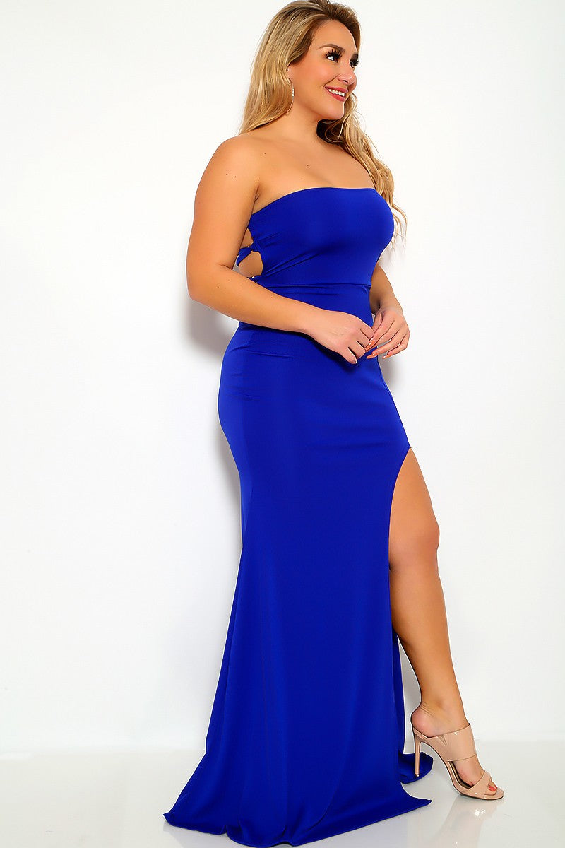 Sleeveless Plus Size Royal Blue Formal Dress