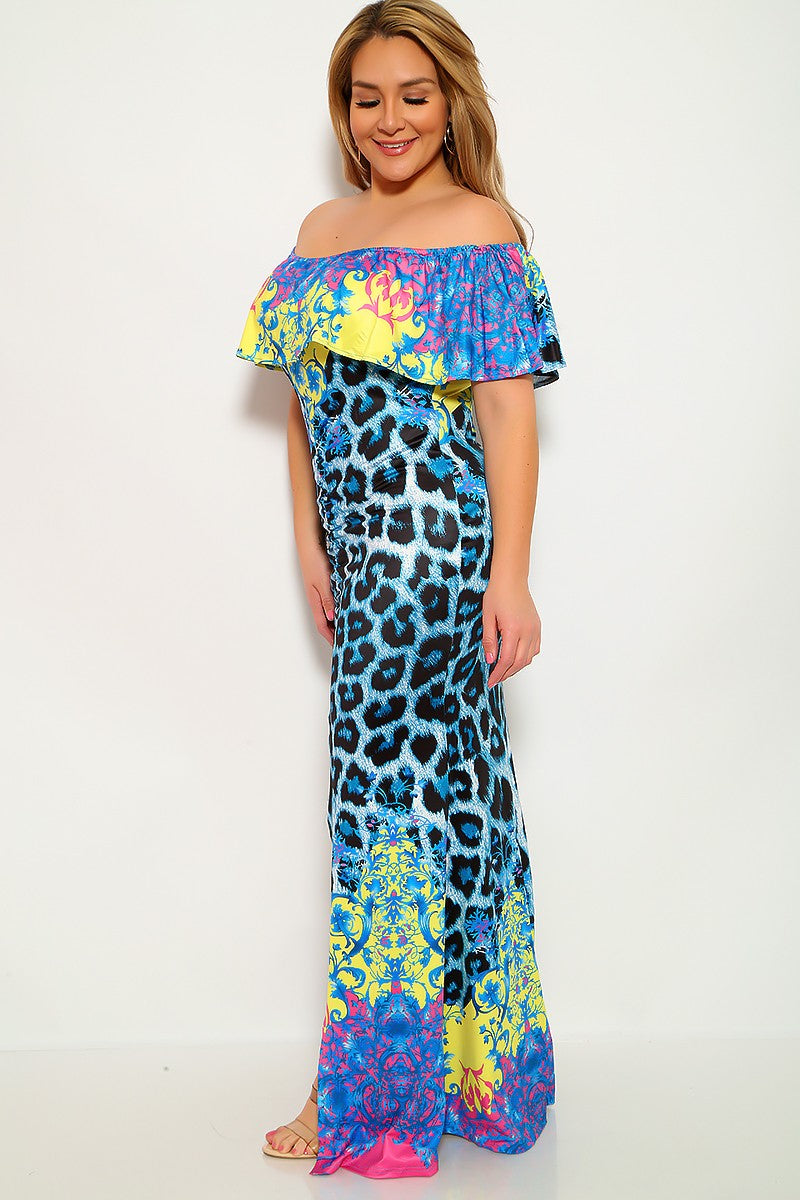 Royal Blue Leopard Print Plus Size Dress