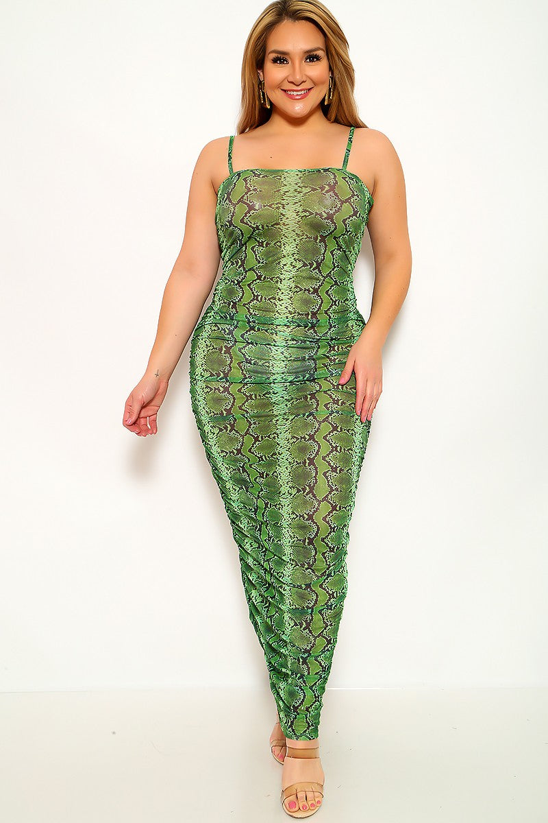 Lime Snake Print Mesh Plus Size Maxi Dress