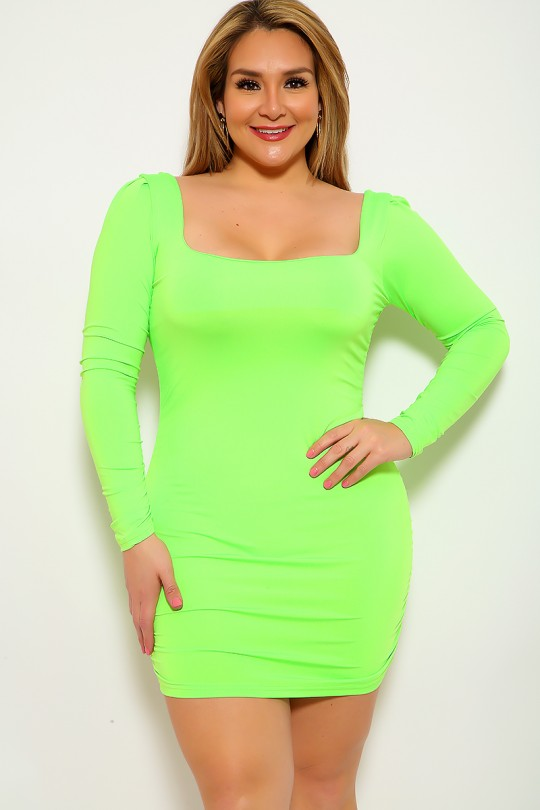 Lime Ruched Long Sleeve Plus Size