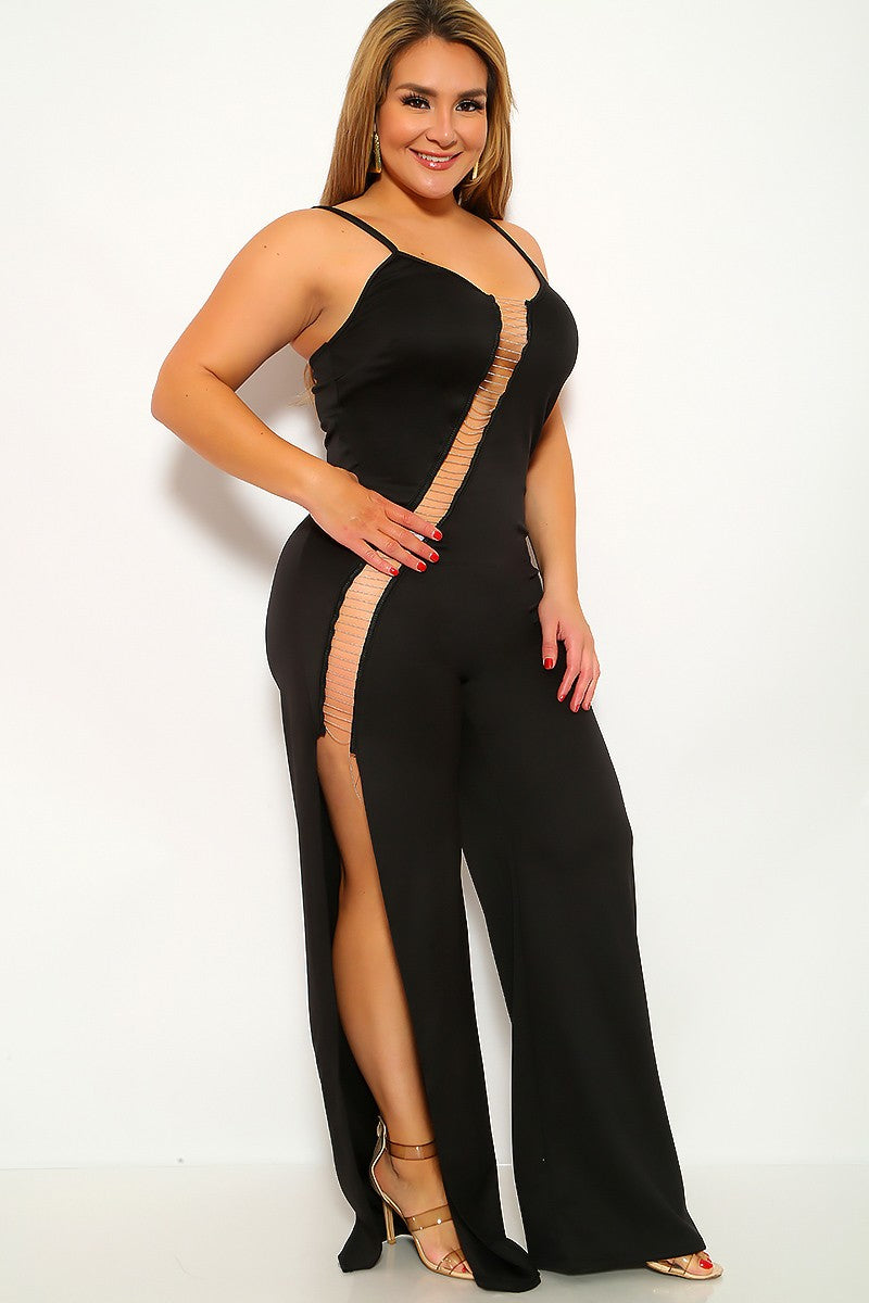 Black Sleeveless Flared Plus Jumpsuit