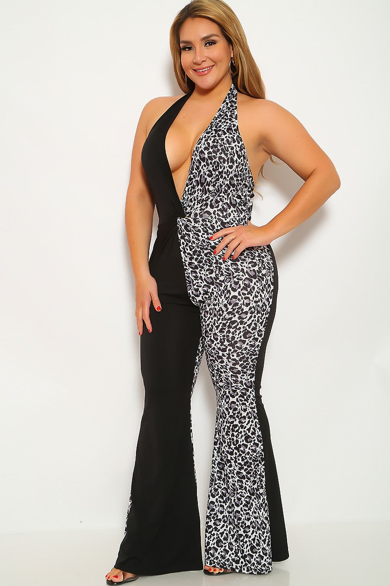 Black Leopard Print Sleeveless Plus Size Jumpsuit