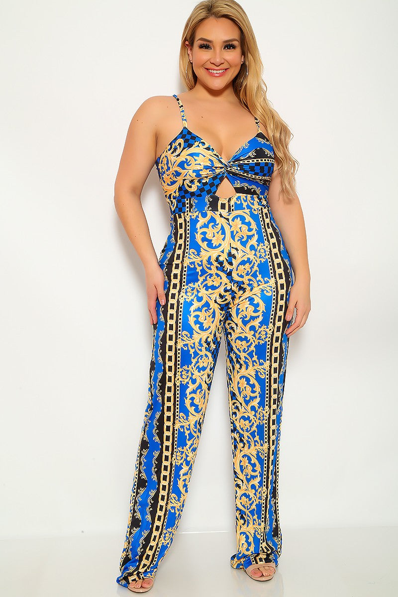Plus Size Royal Blue Marigold Plus Size Casual Jumpsuit