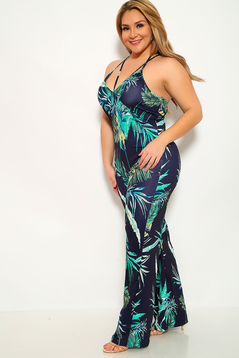 Navy Green Leaf Print Strappy Plus Size Jumpsuit