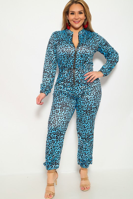 Blue Leopard Print Plus Size Jumpsuit