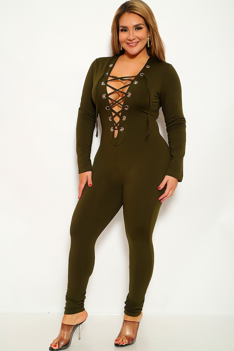 Olive Long Sleeve Lace Up Plus Size Jumpsuit