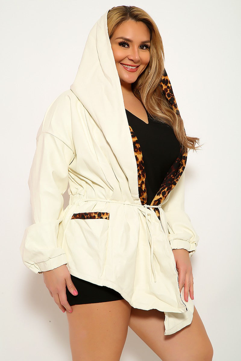 White Leopard Print Faux Leather Plus Size Jacket
