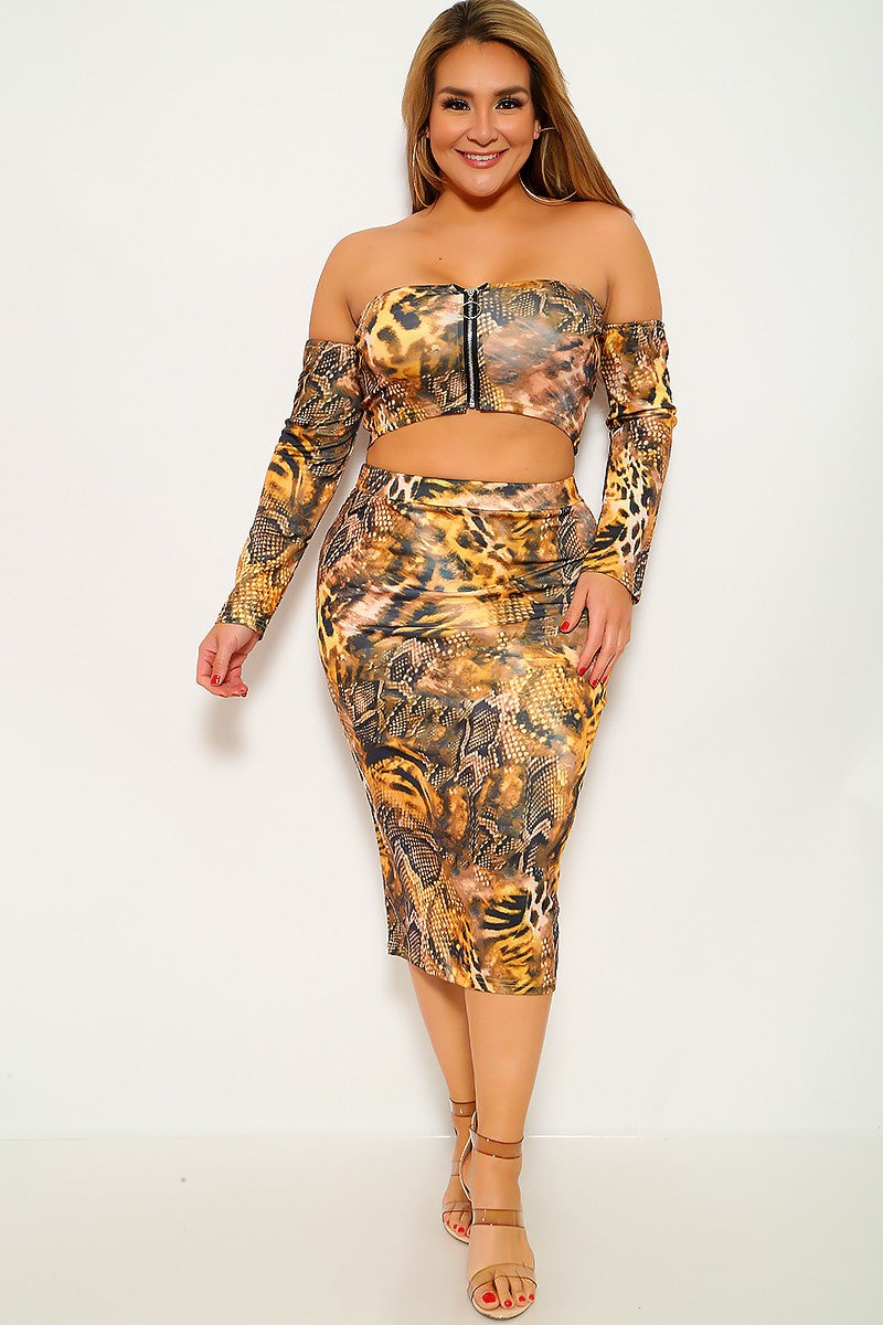 Marigold Black Snake Print Plus Size Two Piece Dress