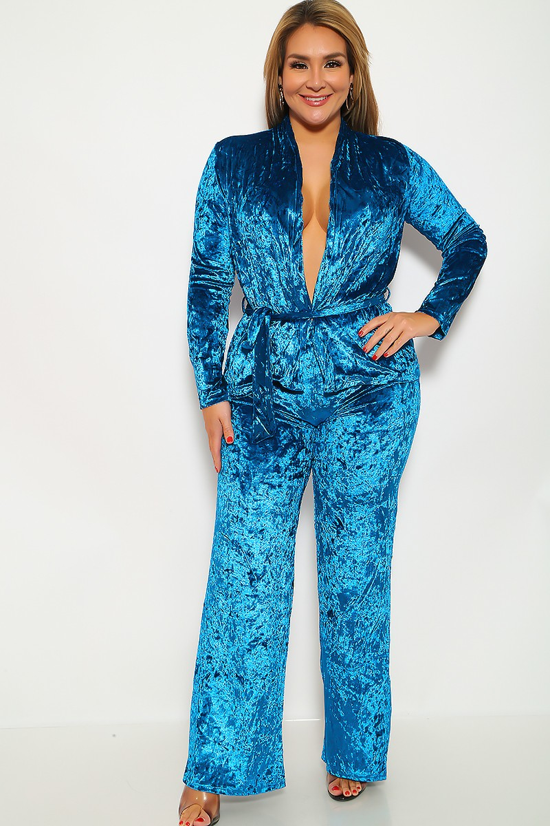 Teal Velvet Two Piece Plus Size Outfit