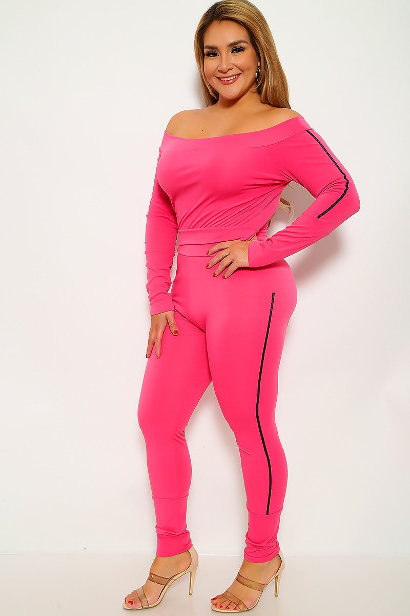 Fuchsia Striped Plus Size Two Piece Outfit