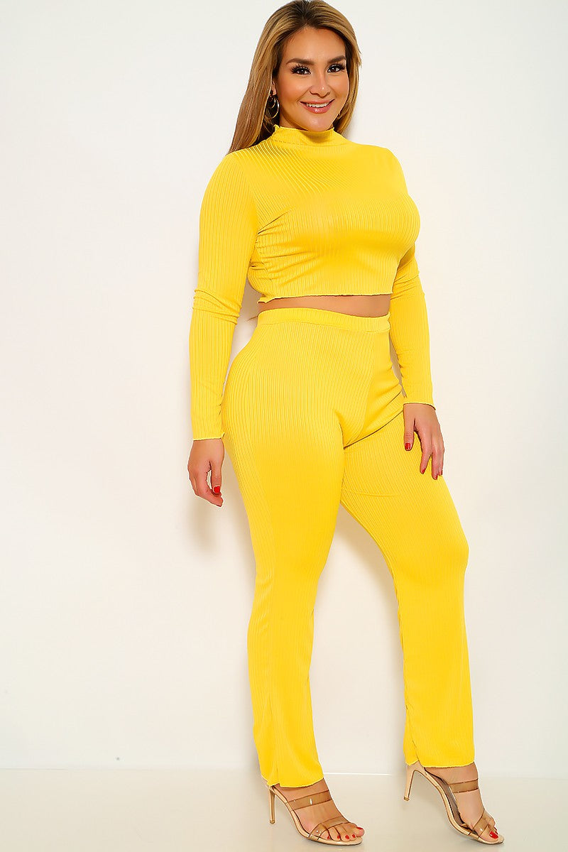 Yellow Ribbed Two Piece Plus Size Outfit