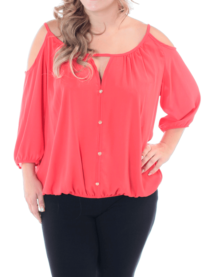Plus Size Flirty Shoulder Cut Out Coral Top