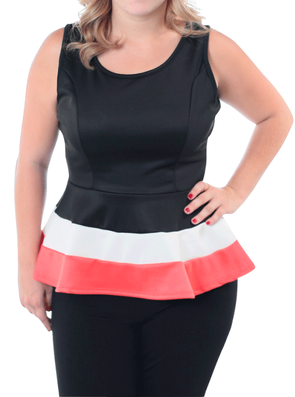 Plus Size Block Banding Slick Peplum Coral Top