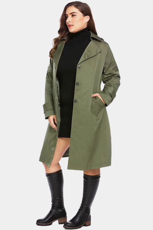 Plus Size Chic Hooded Top Single Breasted Overcoat