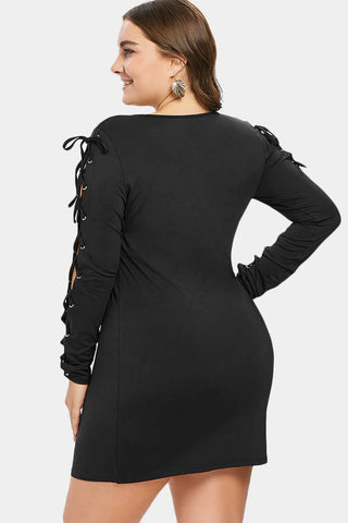 Plus Size Glam Criss Cross Sleeves Bodycon Dress