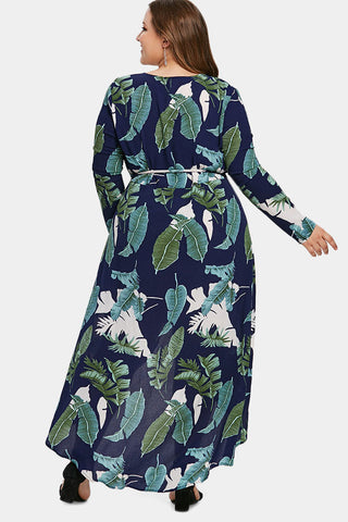 Plus Size High Low Plunging Neck Line Floral Wrap Dress