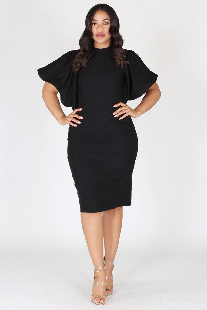 Plus Size Elegant Bell Sleeves Keyhole Dress Plussizefix