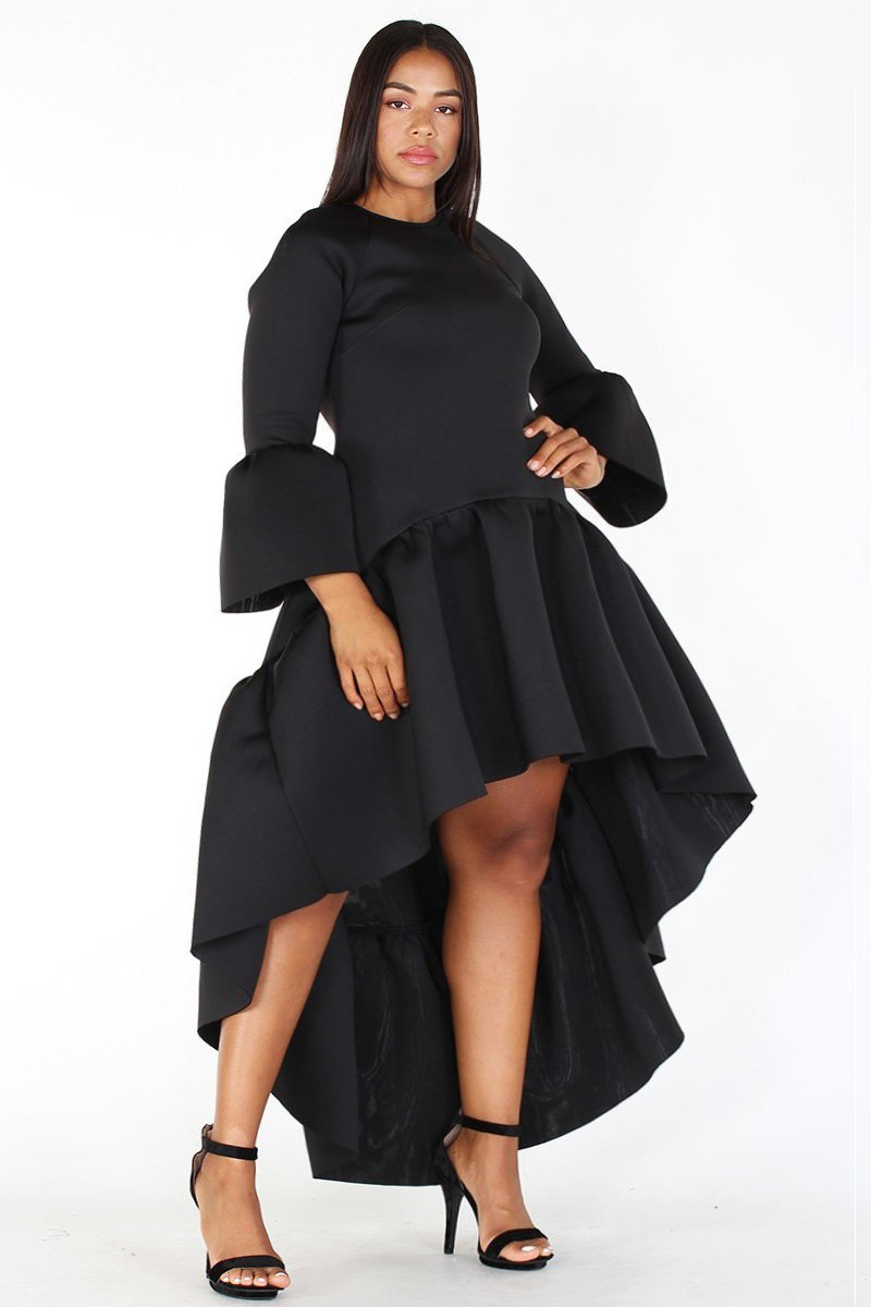 Plus Size Glam Hi-Lo Maxi Bell Sleeve Ruffle Dress