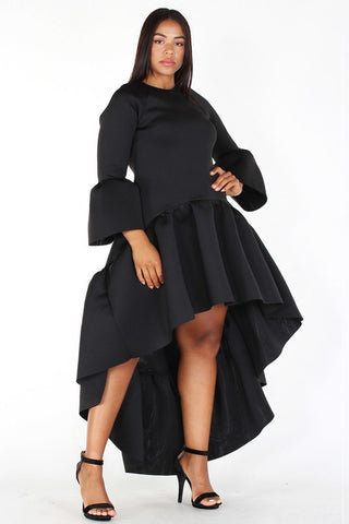 5d1af6e55b2 Plus Size Glam Hi-Lo Maxi Bell Sleeve Ruffle Dress ...