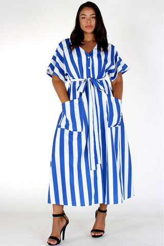 Plus Size Weekend Flare Waist Tie Maxi  Stripe Dress