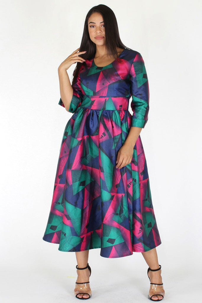 Plus Size Elegant Gorgeous Geo Flare Cocktail Dress