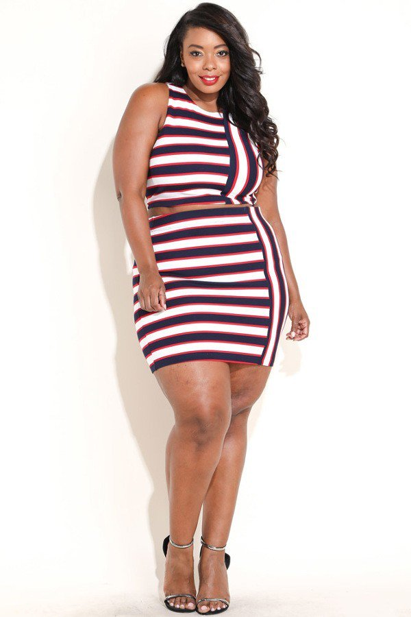 Plus Size Colorful Stripe Contrast Top Bottom Set